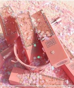 hold live flower diamond girl lipstick